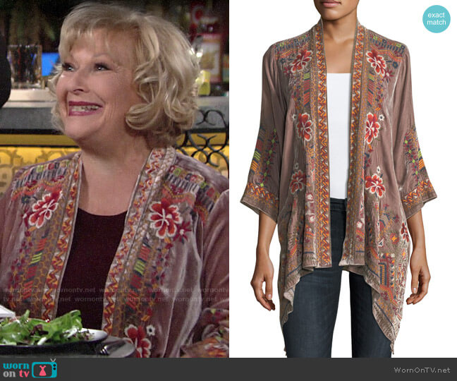 Johnny Was Waleska Cardigan worn by Traci Abbott (Beth Maitland) on The Young & the Restless