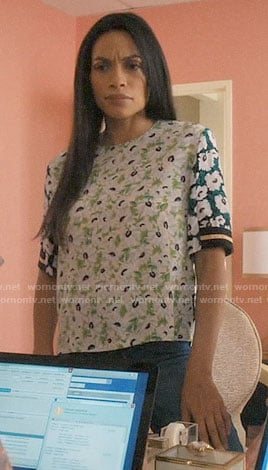 JR's mixed floral top on Jane the Virgin