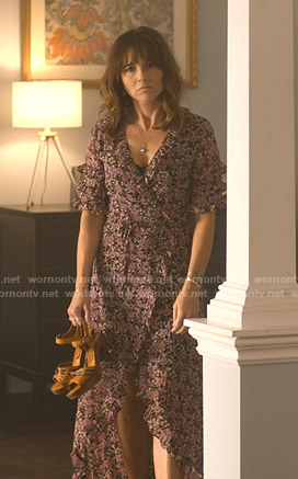Judy's floral wrap midi dress on Dead to Me