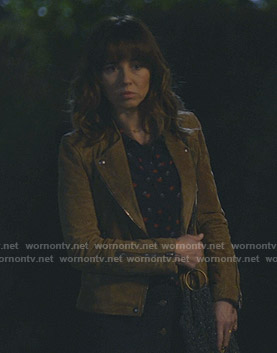 Judy's beige suede moto jacket on Dead to Me