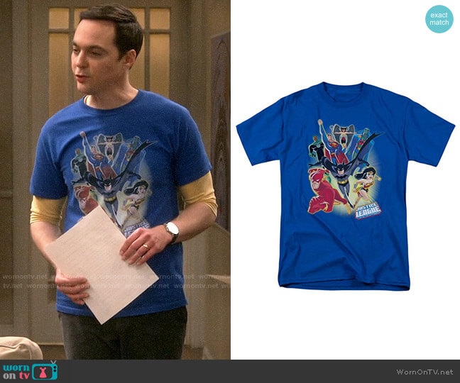 DC Comics Justice League Unlimited T-shirt worn by Sheldon Cooper (Jim Parsons) on The Big Bang Theory