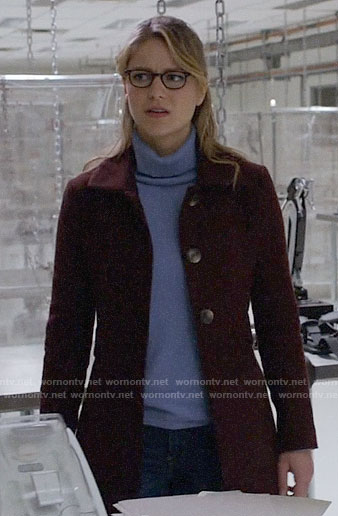 Kara's burgundy coat on Supergirl