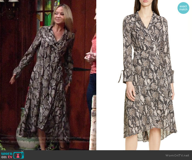 Karen Millen Snake Print Long Sleeve Dress worn by Sharon Collins (Sharon Case) on The Young & the Restless
