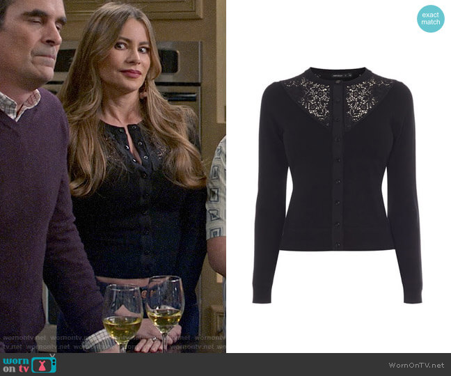 Karen Millen Lace Yoke Cardigan worn by  Gloria Pritchett (Sofia Vergara) on Modern Family
