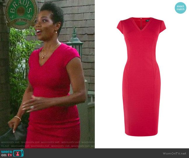 Karen Millen V-neck Pencil Dress worn by Valerie Grant (Vanessa Williams) on Days of our Lives