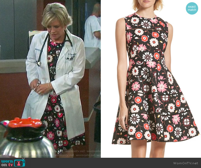 Kate Spade Casa Floral Fit & Flare Dress worn by Kayla Brady (Mary Beth Evans) on Days of our Lives