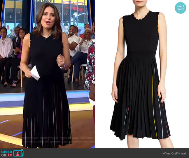 Crewneck Sleeveless Pleated Sweater Dress by Kate Spade worn by Cecilia Vega  on Good Morning America