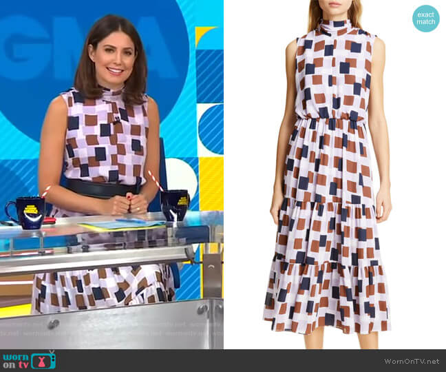 Geo Squares Midi Dress by Kate Spade worn by Cecilia Vega  on Good Morning America