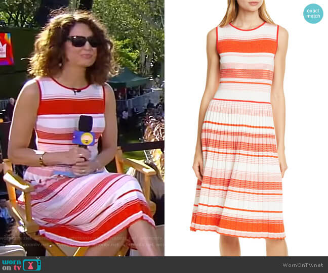 Stripe Knit Pleated Dress by Kate Spade worn by Cecilia Vega  on Good Morning America
