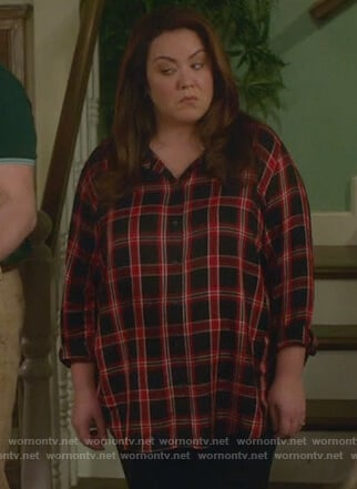 Katie's black and red plaid blouse on American Housewife