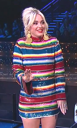 Katy's sequin striped dress on American Idol