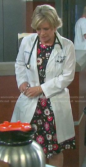 Kayla's floral fit and flare dress on Days of our Lives
