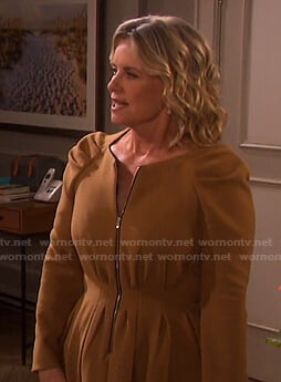Kayla's tan zip-front dress on Days of our Lives