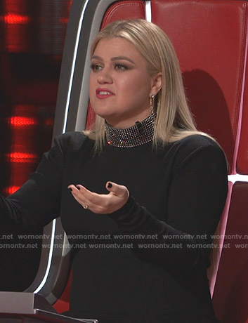 Kelly Clarkson's black embellished neck dress on The Voice