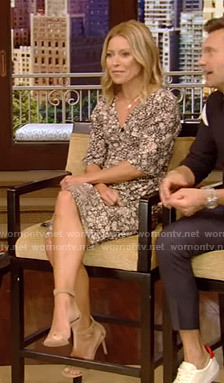 Kelly's black printed v-neck dress on Live with Kelly and Ryan