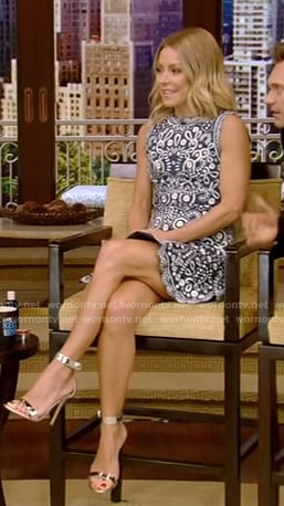 Kelly's blue embroidered mini dress on Live with Kelly and Ryan