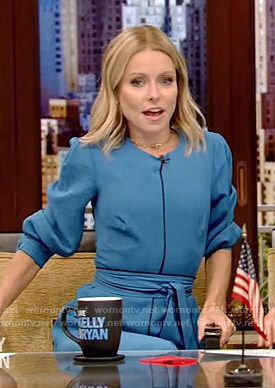 Kelly's blue belted dress on Live with Kelly and Ryan