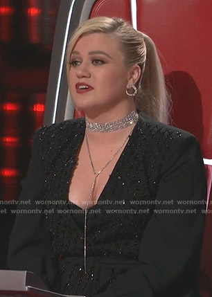 Kelly Clarkson's black embellished wrap dress on The Voice