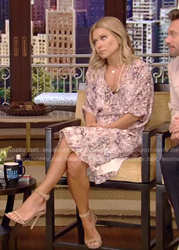 Kelly's pink printed dress on Live with Kelly and Ryan