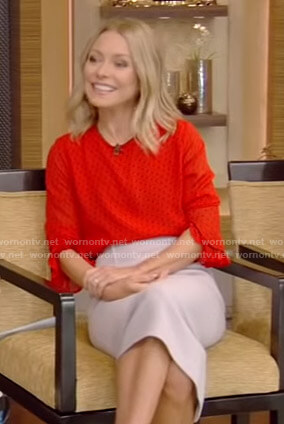Kelly's red polka dot top and pencil skirt on Live with Kelly and Ryan