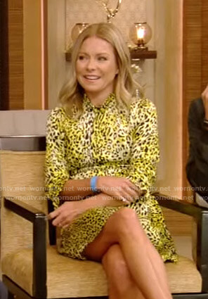 Kelly's yellow leopard print mini dress on Live with Kelly and Ryan