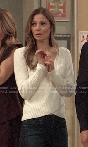 Kim's white crossover sweater on General Hospital