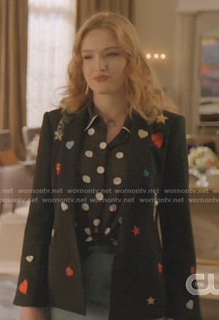 Kirby's black embellished patch blazer and polka dot blouse on Dynasty