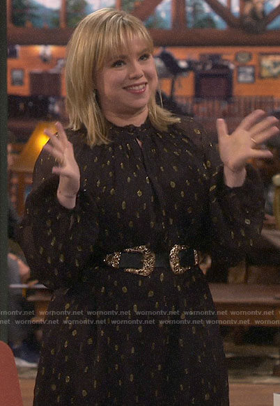 Kristin's black metallic dot dress on Last Man Standing