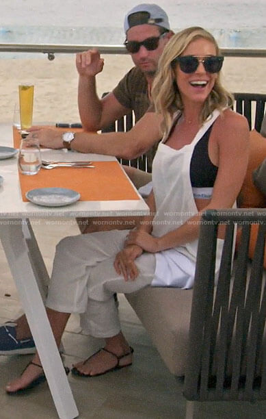 Kristin's black bra and white overalls on Very Cavallari
