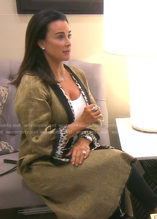 Kyle's metallic kimono with leopard trim on The Real Housewives of Beverly Hills