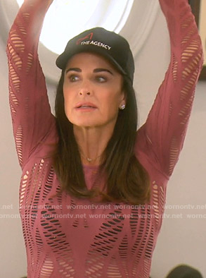 Kyle's pink laser-cut top on The Real Housewives of Beverly Hills