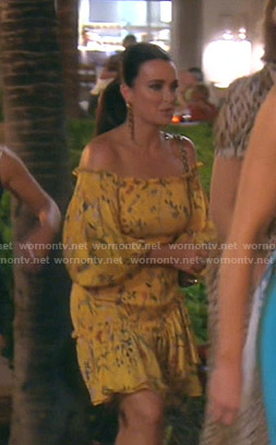 Kyle's yellow floral off-shoulder dress on The Real Housewives of Beverly Hills