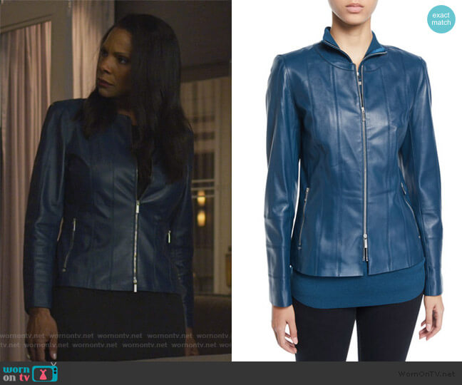 Courtney Lambskin Leather Jacket by Lafayette 148 worn by Barbara Kolstad (Erica Tazel) on The Good Fight
