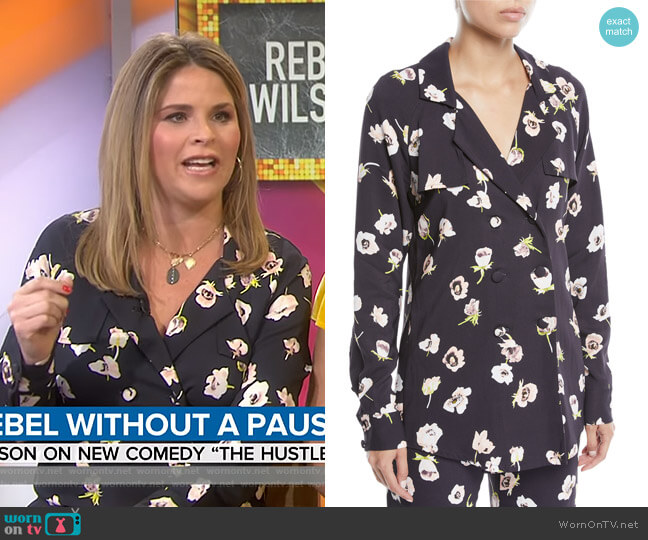 Double-Breasted Floral-Print Blouse by Lela Rose worn by Jenna Bush Hager  on Today