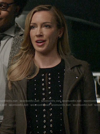 Laurel's studded sweater and leather jacket on Arrow