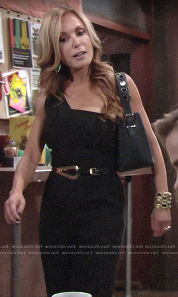 Lauren's black one-shoulder jumspuit on The Young and the Restless