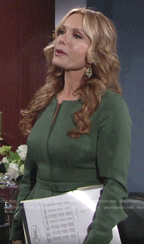 Lauren's green peplum skirt suit on The Young and the Restless