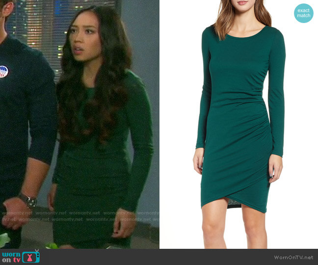 Leith Ruched Long Sleeve Dress worn by Haley Chen (Thia Megia) on Days of our Lives