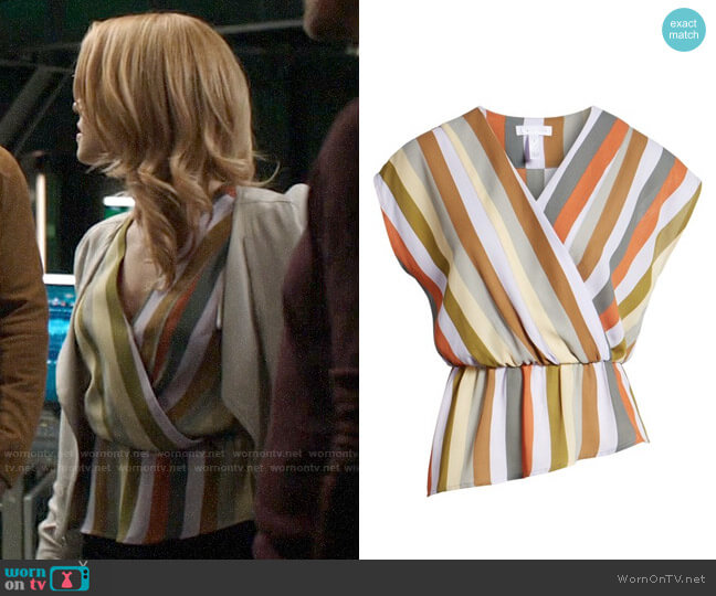 Leith Wrap Style Blouse worn by Felicity Smoak (Emily Bett Rickards) on Arrow