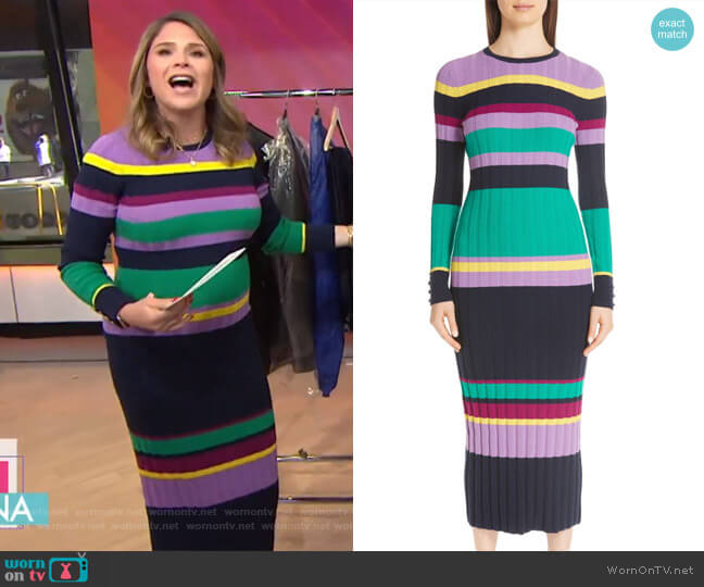 Ribbed Stripe Wool Blend Sweater Dress by Lela Rose worn by Jenna Bush Hager  on Today