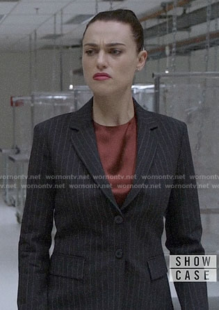 Lena's pinstripe suit on Supergirl