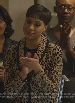 Liz's blue ribbed jacket and dress on The Good Fight