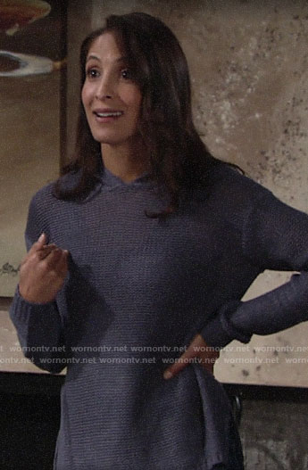 Lily's blue hooded sweater on The Young and the Restless