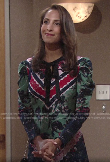 Lily's mixed print tie-neck dress on The Young and the Restless