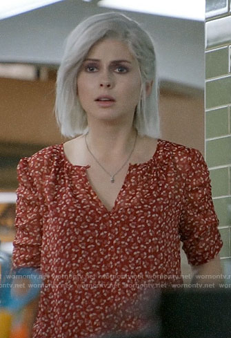 Liv's red printed top jacket on iZombie