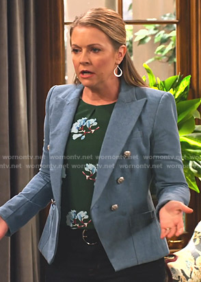 Liz's green floral top and blue blazer on No Good Nick
