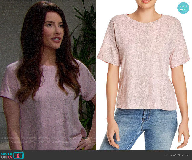 LNA Boxy Snakeskin Print Tee worn by Steffy Forrester (Jacqueline MacInnes Wood) on The Bold & the Beautiful