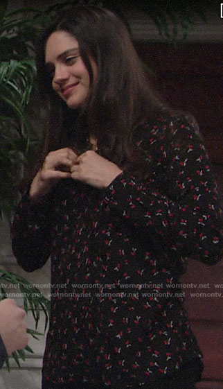 Lola's black cherry print shirt on The Young and the Restless