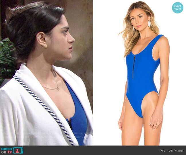 Lovers + Friends Zipped Up One-Piece worn by Lola Rosales (Sasha Calle) on The Young & the Restless