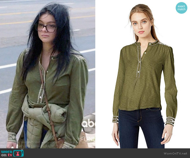 Lucky Brand Embroidered Henley Top worn by Alex Dunphy (Ariel Winter) on Modern Family